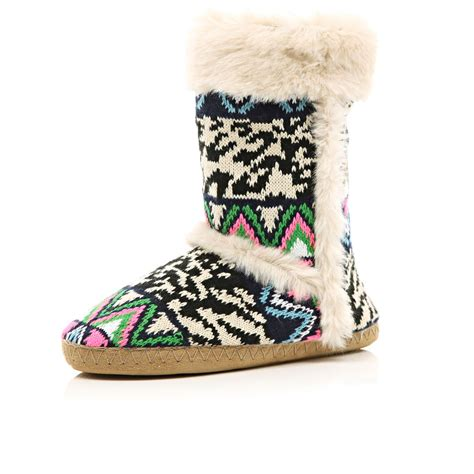 navy slipper boots river island navy mixed pattern knit slipper boots in