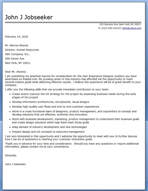 Cover Letter For With Experience User Experience Cover Letter Resume Downloads