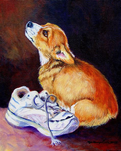bad puppy bad puppy pembroke corgi painting by lyn cook
