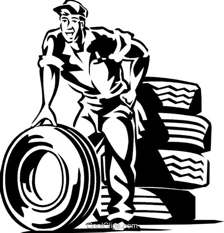 mechanic drawing auto mechanic with tires royalty free vector clip