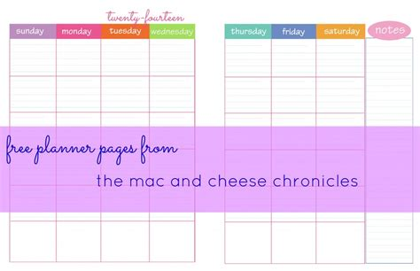 free printable planner half size printable planner pages the mac and cheese chronicles