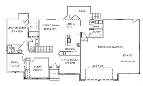 Ranch Style Home Floor Plans With Basement by Single Story Open Floor Plans Ranch House Floor Plans With
