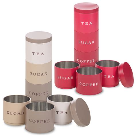 Plastic Kitchen Canisters 3 Stackable Coffee Tea Sugar Set Metal Food Storage Tins