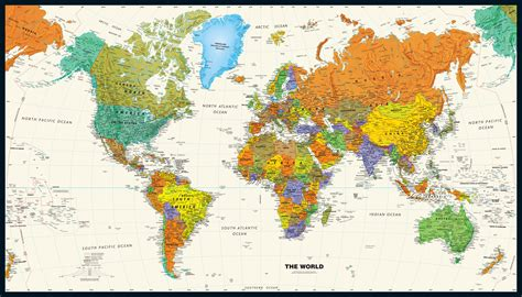 wall map contemporary world wall map
