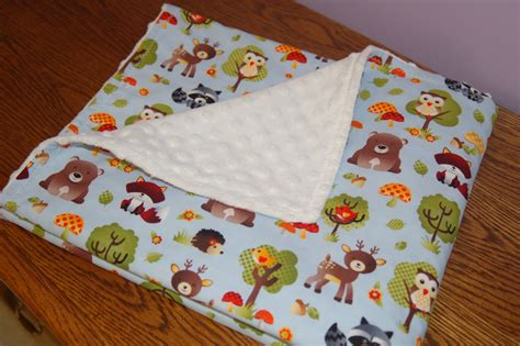 Handmade Baby Blankets Etsy - handmade baby blanket woodland animals print with white minky