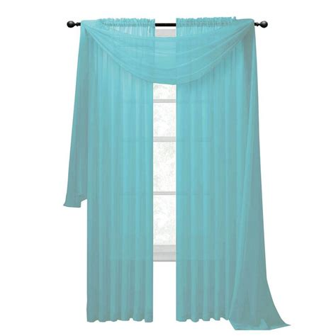 Light Blue Sheer Curtains Window Elements Sheer Voile Light Blue Curtain Scarf 56 In W X 216 In L Shop Your