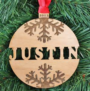 snowflake name ornament personalized wood ornament