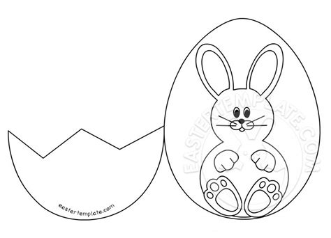 Rabbit Easter Card Templates by Easter Bunny Inside A Cracked Egg Easter Template