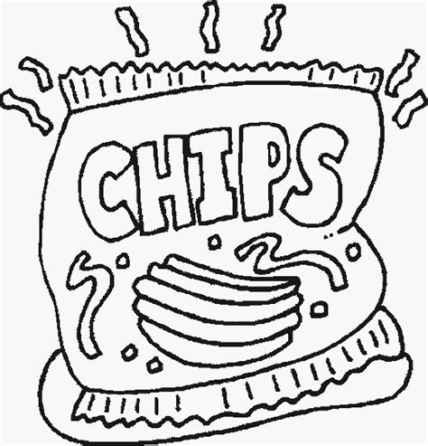 Chips Free Printable Food Coloring Pages Snack Coloring Pages