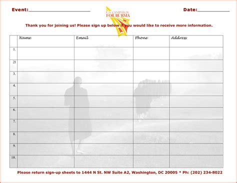 Event Sign In Sheet Template by Sign In Templates Portablegasgrillweber