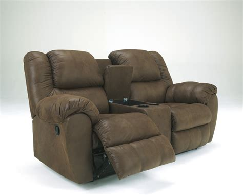 recliner loveseat with console quarterback canyon dbl rec loveseat w console