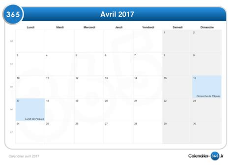 Calendrier 2017 Paques Calendrier Avril 2017