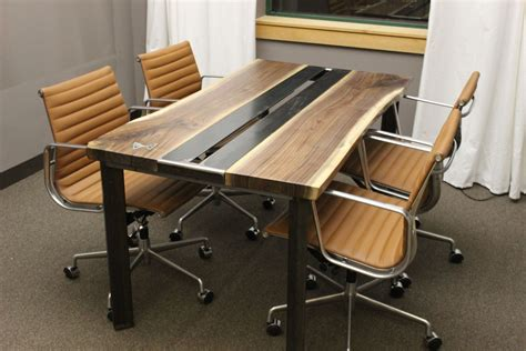 made live edge walnut conference table by k modern