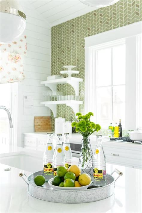 green herringbone tiles backsplash  ann sacks