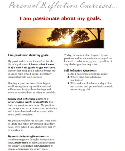Affirmations For Weight Loss Goals Worksheet