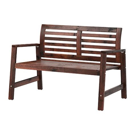196 pplar 214 bench with backrest outdoor brown stained ikea