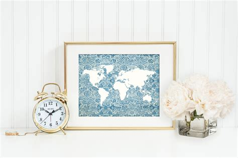 travel themed office decor blue floral world map print map from istria design