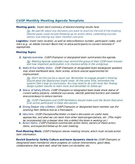 monthly safety meeting template what is an agenda 8 what is an quality improvement teams