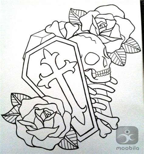 jk tattoo design designs skull coffin and roses outline