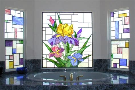 stained glass bathroom window privacy in a bathroom window