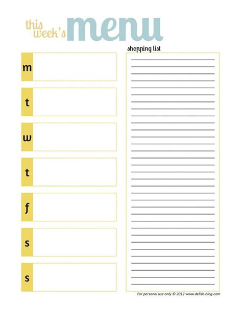 menu planning template free 25 unique weekly menu printable ideas on
