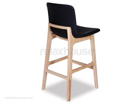 Black Stool by Black Upholstered Timber Kitchen Stool