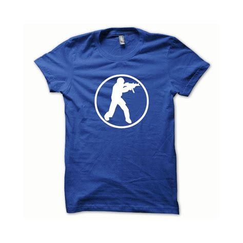 Tees Cs shirt counter strike blanc sur bleu royal