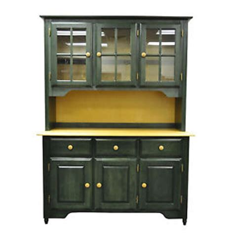 Green Buffet Cabinet by Primitive Canadel Green Finish Wood Hutch Top Kitchen