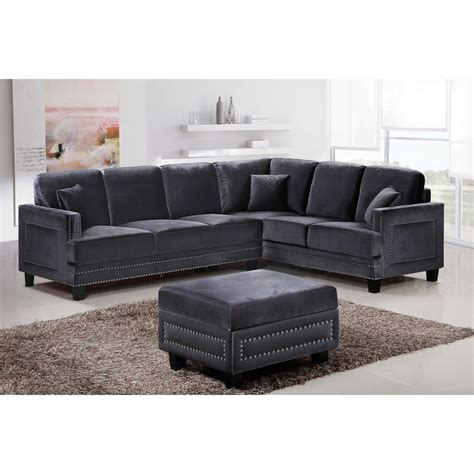 nailhead trim sectional meridian furniture 655gry sectional ferrara sectional sofa