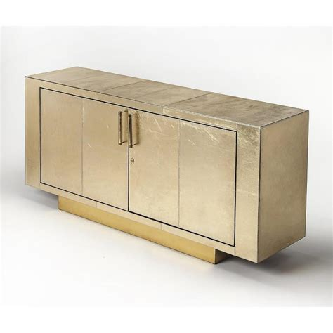 Luton Gold Leather Buffet Table Gold Buffet Table