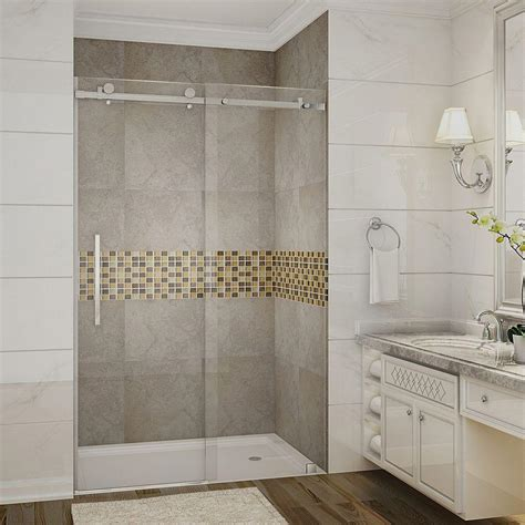 Glass Door Bathroom Showers Aston Moselle 48 In X 75 In Completely Frameless Sliding Shower Door In Stainless Steel With