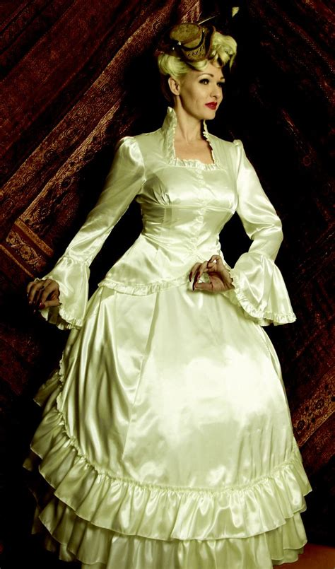 retroscope fashions brings you unique elegant gothic michelle in our cream satin bustle skirt and matching bell