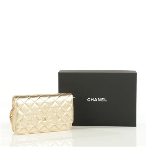 Chanel Quilted Wallet by Chanel Metallic Lambskin Quilted Wallet On Chain Woc Gold