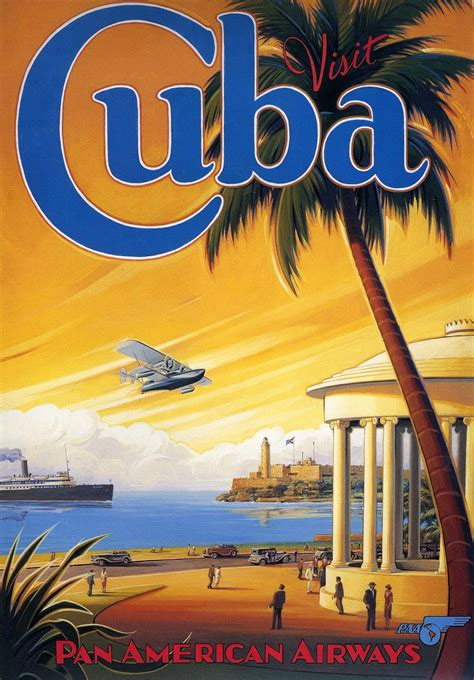 Cuban Home Decor by Transpress Nz Pan Am Poster Visit Cuba