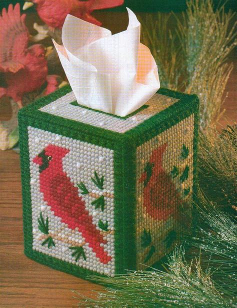 christmas pattern box snowy cardinal tissue box cover christmas plastic canvas