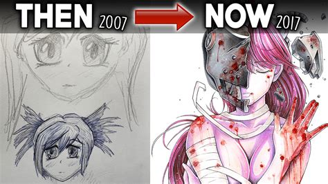 V Anime Drawing by My Drawings Then Vs Now 10 Years Of