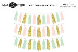 mint pink amp gold tassels clip art objects creative market