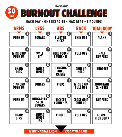 30 day exercise challenge for 30 day bodyweight home workout challenge