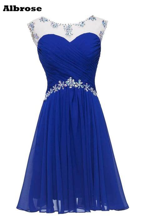 crystal rhinestone short prom dresses  royal blue