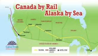 canada rail map canada by rail alaska by sea 15 days 14 nights