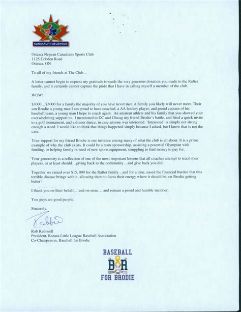 Thank You Letter Recognition recognition ottawa nepean canadians sports club