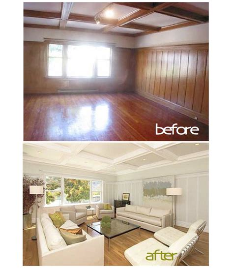 Paint Wood Paneling White | painted wood paneling before after b b
