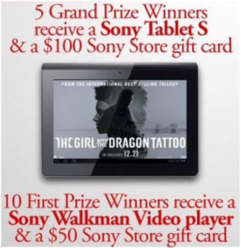 Cinemark Gift Card Costco - cinemark s quot the girl with the dragon tattoo quot sweepstakes win a sony tablet s a