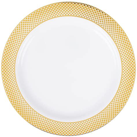 gold lattice pattern silver visions 10 quot white plastic plate with gold lattice