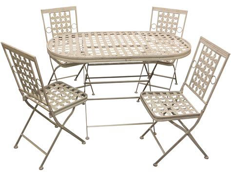 Folding Patio Table And Chairs Maribelle Folding Metal Outdoor Garden Patio Dining Table And 4 Chairs Set Ebay