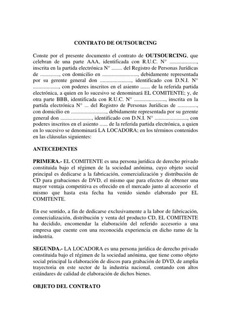 modelo de contrato de una sociedad civil crear empresas ejemplo de contrato de outsourcing