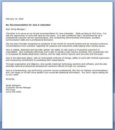 Service Letter Of Recommendation Sle Letter Of Recommendation For Customer Service Resume Downloads