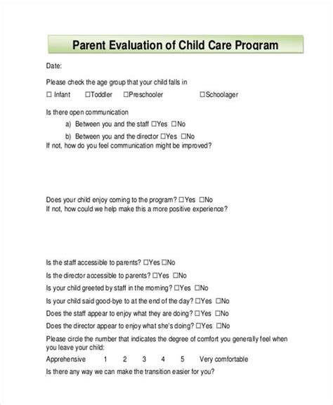 Child Care Program Evaluation Template Sle Child Care Evaluation Form 7 Free Documents In Word Pdf