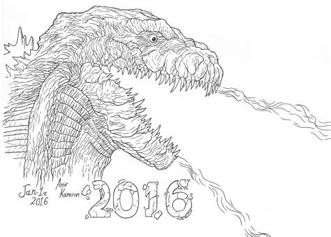 2016 coloring page godzilla 2016 by amirkameron on deviantart