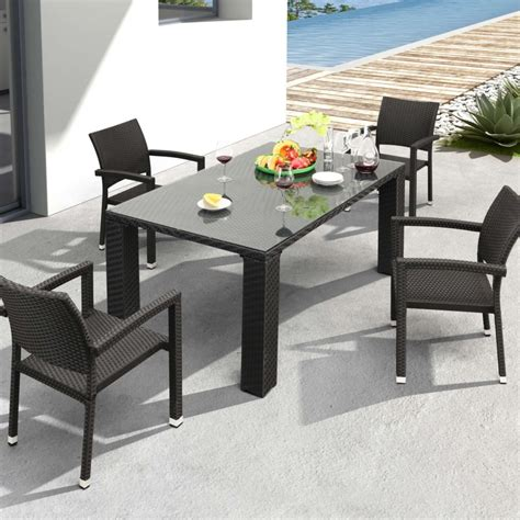 Zuo Modern Boracay Patio Dining Set With Glass Top Table